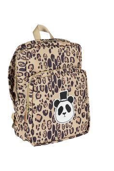 Panda Backpack Beige backpack in a durable fabric made of 100 % recycled polyester, with an all-over leopard print and Mini Rodini's signature panda dressed up Beige Backpacks, Kids Backpacks, Black Top Hat, Backpack For Teens, Kid Styles, Baby Accessories, Fashion Backpack, Panda, Kitty