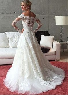 Romantic Tulle Off-the-shoulder Neckline A-line Wedding Dress With Beadings & Lace Appliques - Adasbridal.com
