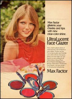 1972 vintage ad, MAX FACTOR ULTRALUCENT FACE GLAZER, CHERYL TIEGS ...