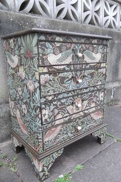 SOLD****Small Four Drawer Vintage Chest restyled in William Morris Strawberry Thief Vintage Chest, Wallpaper Furniture, Furniture Makeover, Bedroom Furniture Makeover, William Morris, Painted Furniture, Furniture Restoration, Furniture Inspiration, Redo Furniture