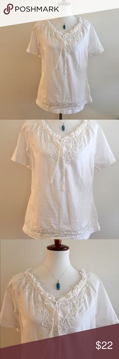 Caribbean Joe Crisp White Summer Blouse Beautifully detailed blouse.  Size Medium.  100 % Cotton.  Perfect for warmer months.  Applique soutache along hemline all around.  Gathered ruffled neckline and ties.  Bust is 41 inches Length is 25 inches.  Excellent condition.  Jewelry selection sold separately.  See other listings in my closet. Carribbean Joe Tops Blouses