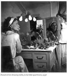 Coco Chanel (55) at her dressing table, Ritz Hotel, Paris, France, 1938