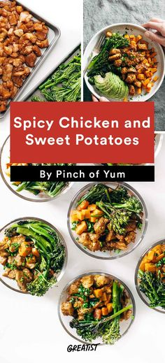 6. Spicy Chicken and Sweet Potatoes #Greatist http://greatist.com/eat/healthy-lunch-recipes-that-make-meal-prep-easy