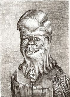 A young Chewie graduates. Pencil drawing  #etsy