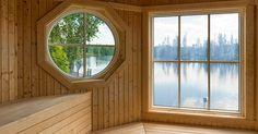 Sauna with a wondeful lake view Swedish Sauna, Finnish Sauna, Scandinavian Interior Design, Saunas, Lake View, Interior Design Inspiration, Villa, Real Estate, Backyard