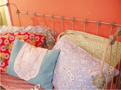 Love this look! Mixing patterns on pillowcases Flea Market Style, Hair Decorations, Mixing Patterns, Handmade Pillows, Valance Curtains, Home Goods, Toddler Bed, Pillow Cases, Cushions