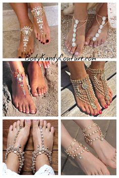 Barefoot sandals Indian wedding foot jewelry bohemian barefoot beach wedding sandal shoes #beachweddingsandals #barefootsandals #weddingaccessories #indian #beachwedding #jewelry #gypsylovinlight #anklet #boho