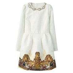 Pleated Carriage Print Beaded Lined White Dress   pariscoming