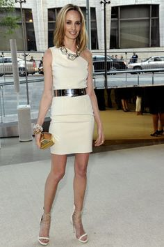 Summer : cream one shouldered dress with bold belt and statement necklace