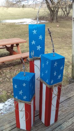 Wood Firecrackers...wood, paint, twine, and barbed wire for the wick.~ Red White Blue, 4th of July, Patriotic, Holidays, Americana, Home Décor, DIY, Nailed It 🎇 🌠