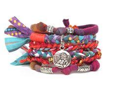 Vibrant Gypsy Bracelet Fiber Angel Charm Bracelet by peggytrue, $32.00