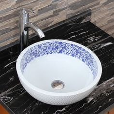 Elimax's 2010+882002 Chrysanthemum Blue and White Porcelain Ceramic Bathroom Vessel Sink with Faucet Combo - Free Shipping Today - Overstock.com - 17295621 - Mobile