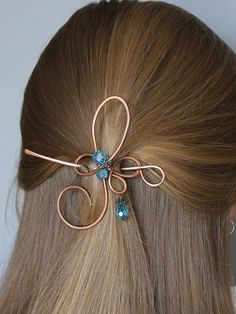 Hair Clip Sparkling Green/ Blue Beads Hair by CopperStreetStudios