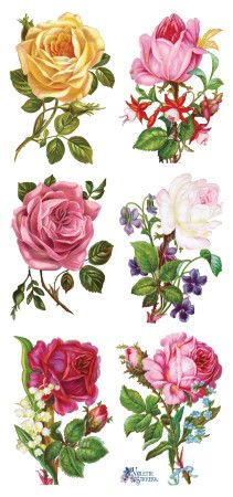 Self Adhesive Victorian Roses 1 Sheet Colorful Scrapbooking Stickers Number Decoupage Vintage, Art Vintage, Vintage Prints, Vintage Images, Vintage Rosen, Scrapbook Stickers, Yellow Roses, Collage Sheet, Vintage Flowers
