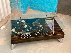"""🖤 Batman """"The Dark Knight"""" Coffee Table assembled and finished today 💥 I've built a few of these now and they just seem to get better and better, the mojority of this piece has been painted and cut in by hand. Dressed in chrome fixtures and a glass top for maximum impact 💥 Checkout our STORY for some close up shots! DM for pricing and enquires."""
