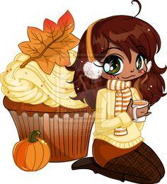 Pumpkin Spice Cupcake Chibi by YamPuff.deviantart.com on @deviantART