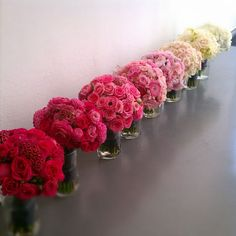 Ombre flowers - just bloomed Wedding Table Flowers, Floral Wedding, Wedding Bouquets, Bridesmaid Bouquets, White Bouquets, Flower Bouquets, Bridesmaid Ideas, Rose Bouquet, Purple Wedding