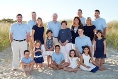 Cape Cod family beach portrait. Large family group posing. Clothing ideas for extended family group photos. What to wear to my family portrait?