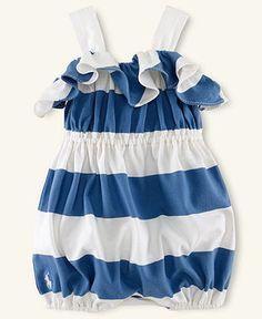 Ralph Lauren Baby Romper, Baby Girls Striped Romper - Kids Newborn Shop - Macy's
