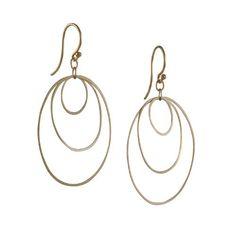 Gold Ellipse Hoop Earrings