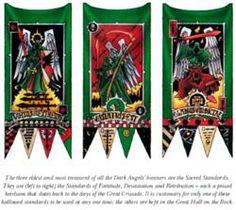 DarkAngelsSacredStandards Warhammer Dark Angels, Dark Angels 40k, Warhammer 40k Figures, Warhammer 40000, Best Banner Design, Model Hobbies, Ancient Buildings, Space Marine, Borderlands