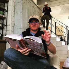 Catching up on some light reading I between takes. @chippergaines @epiphanykid #fixerupper #seasonthreeiscoming