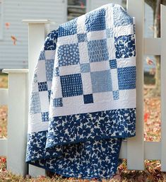 Choose Beautiful Fabrics for an Easy Two-Color Quilt - Quilting Digest - Lorena Baby Boy Quilt Patterns, Scrap Quilt Patterns, Baby Boy Quilts, Lap Quilts, Quilt Blocks, Patchwork Quilting, Quilting Ideas, Scraps Quilt, Amish Quilts