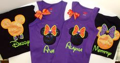 HALLOWEEN Mickey and Minnie  Disney Shirts. Personalized Applique all sizes & colors. Family Vacation, Special Occasion and Events. by aTaylorMadeEmbroider on Etsy https://www.etsy.com/listing/195942164/halloween-mickey-and-minnie-disney
