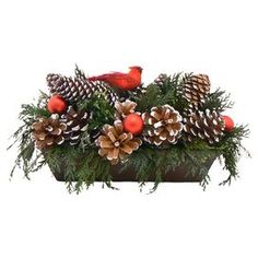 Preserved green cedar with frosted pinecones and red ornaments in a wood container. Product: ArrangementConstruction Material: Silicone and woodColor: BrownDimensions: H x W x DCleaning and Care: Wipe gently with a dry cloth. Avoid sunlight and humidity. Holiday Wreaths, Christmas Decorations, Holiday Decorating, Christmas Ideas, Decorating Ideas, Cedar Window Boxes, Green Garland, Real Christmas Tree, Table Top Design