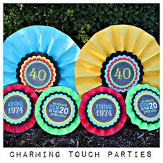 40th Birthday rosettes/medallions by by CharmingTouchParties