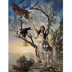 Native American Woman with her favorite Forest Animals Native American Wolf, Native American Paintings, Native American Pictures, Native American Wisdom, Native American Beauty, Indian Pictures, American Spirit, American Indian Art, Native American History