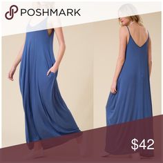 ‼️CLEARANCE‼️Loose Fit Harem Maxi Dress Spaghetti Strap Low Back Loose Fit Harem Maxi Dress with pockets  95% Rayon, 5% spandex. Lulupie Dresses Maxi