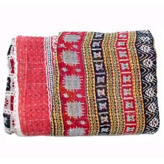 Kantha Quilted Recycled Sari Throw - Red Floral