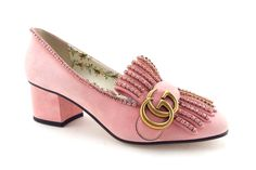 e2cdf6d2b853dd GUCCI GG Logo Crystal Pink Suede Loafer Pumps 36.5