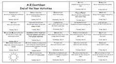 Count down the day until summer vacation with fun actives each day starting with the letter A and ending on Z to Zip up and Zoom out.  This is an editable word doc calendar.  The ideas are there all you need to do is change the dates to meet your needs.