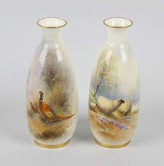 Two Royal Worcester hand painted vases Painted Vases, Hand Painted, Worcester, Mother Day Gifts, Mothers, Porcelain, Gift Ideas, Antiques, Painting