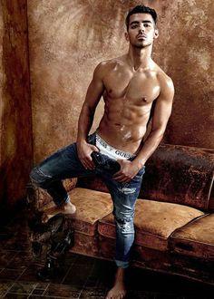 Joe Jonas shirtless during 2017 Guess underwear shoot....