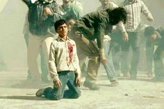 Taken during the first Intifada (1987-1993), Palestinian boy shot in the heart by Israeli occupation forces.