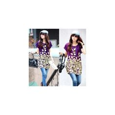 2014 New Short Sleeves Loose Flower Print Plus Size Batwing Ice Silk... (25 HKD) via Polyvore