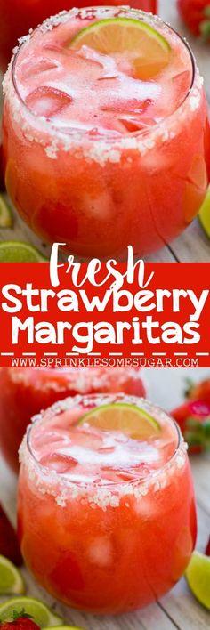 Fresh Strawberry Margaritas. Strawberry margaritas that use fresh strawberries for a fun, refreshing drink!