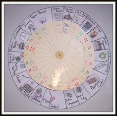 Job wheel, each student has a number that lines up to a job.