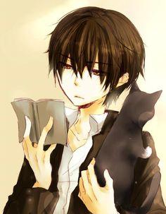 Anime boy Reading & Cat