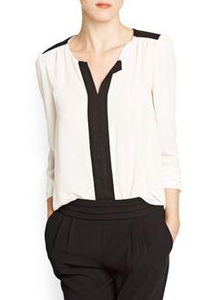 Woman contrast panel chiffon blouse,shirt ,mango,new,size L UK 12