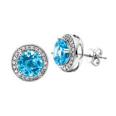 Round Blue Topaz & Diamond Earrings 14kt White Gold
