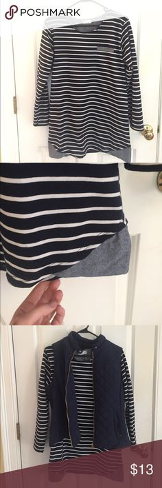 Striped Long Sleeve Shirt Navy blue and white striped long sleeve shirt, cute paired with vest! No size tag, but a oversize/long fit on a small. Tops Tees - Long Sleeve