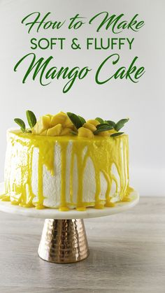 MANGO CAKE RECIPE ~ This Mango Cake is a must try. The cake is very moist, the frosting is fluffy and not too sweet and I must say that there is no butter involved! Cheesecakes, Citrus Cake, Guava Cake, Chocolate Melting Wafers, Mango Recipes, Mango Desserts, Cake Flour, Let Them Eat Cake, Yummy Cakes