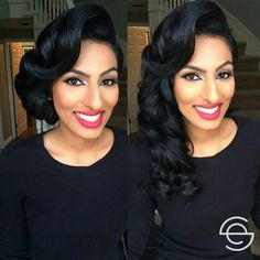 One look two hairstyles. A classic red lip and subtle smokey eyes can be paired with several hairstyles. Which look do you like the best? The gorgeous updo or voluminious old hollywood curls. Both...