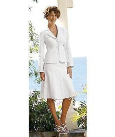 a29648b4f8446 Details about Monroe Main Misses Size 12 White Jacquard Skirt Suit Church  Spring Wedding Large