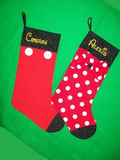 Minnie or Mickey Mouse Christmas Stocking.