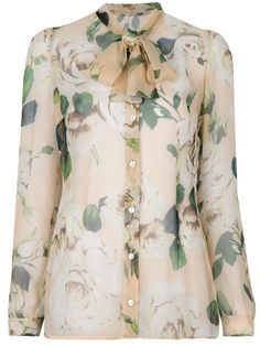 Dolce & Gabbana Floral Tie Neck Blouse - Donne Concept Store - farfetch.com